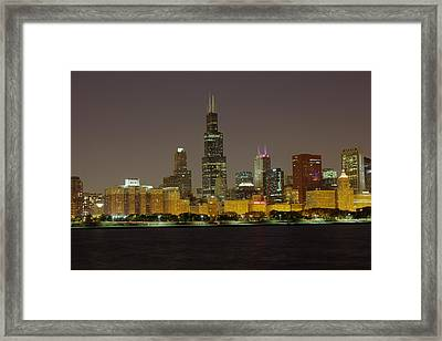 Chicago Night Skyline Framed Print by Peter Ciro