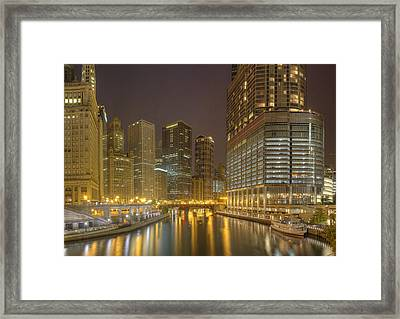 Chicago River At Night Framed Print by Twenty Two North Photography