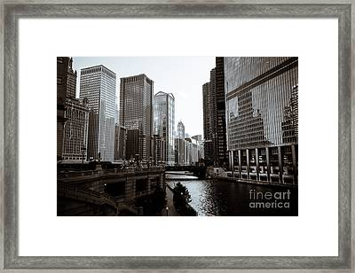 Chicago River Downtown Buildings In Black And White Framed Print by Paul Velgos