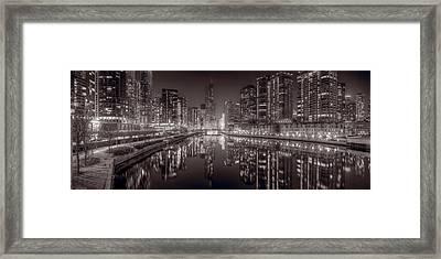 Chicago River East Bw Framed Print by Steve Gadomski