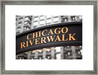 Chicago Riverwalk Sign Framed Print by Paul Velgos