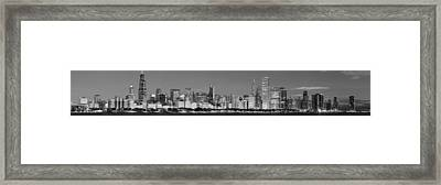 Chicago Skyline At Dawn In Black And White Framed Print by Twenty Two North Photography