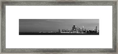 Chicago Skyline At Dusk In Black And White Framed Print by Twenty Two North Photography