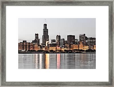 Chicago Skyline At Dusk Photo Framed Print by Paul Velgos