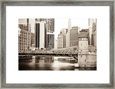 Chicago Skyline At Lasalle Street Bridge Framed Print