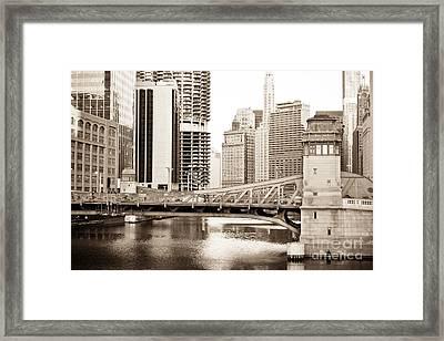 Chicago Skyline At Lasalle Street Bridge Framed Print by Paul Velgos