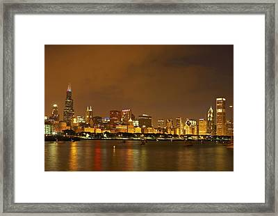 Chicago Skyline At Night Framed Print by Axiom Photographic