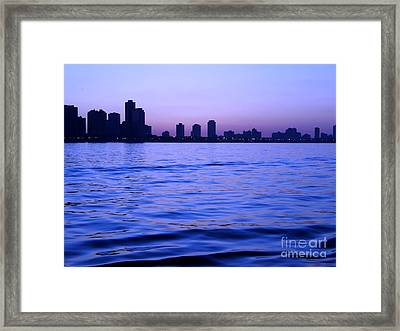 Chicago Skyline At Night Framed Print by Sophie Vigneault