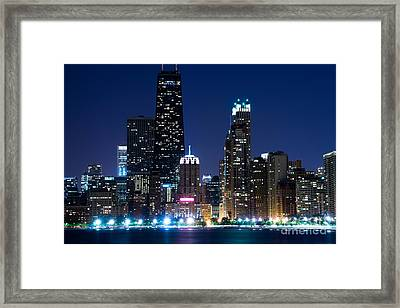 Chicago Skyline At Night With John Hancock Building Framed Print by Paul Velgos