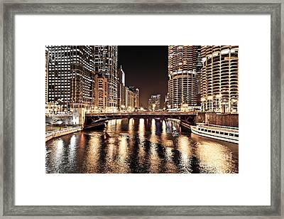 Chicago Skyline At State Street Bridge Framed Print