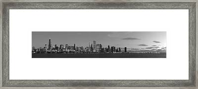 Chicago Skyline At Sunrise In Black And White Framed Print by Twenty Two North Photography