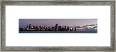 Chicago Skyline At Sunrise Framed Print by Twenty Two North Photography