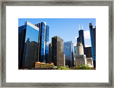Chicago Skyline Downtown City Buildings Framed Print by Paul Velgos