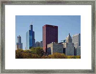 Chicago Skyline From Millenium Park Framed Print by Christine Till