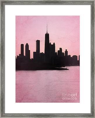 Chicago Skyline In Pink Framed Print by Sophie Vigneault