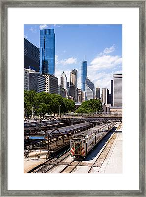 Chicago Skyline With Metra Train Station Framed Print by Paul Velgos