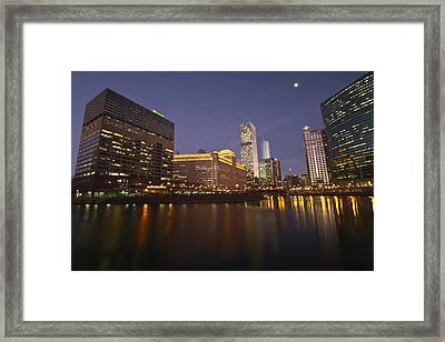 Chicago Sun-times Building And Look Down River  Framed Print by Sven Brogren