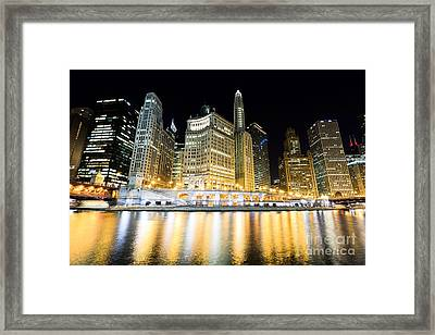 Chicago Wacker Drive Buildings At Night Framed Print by Paul Velgos