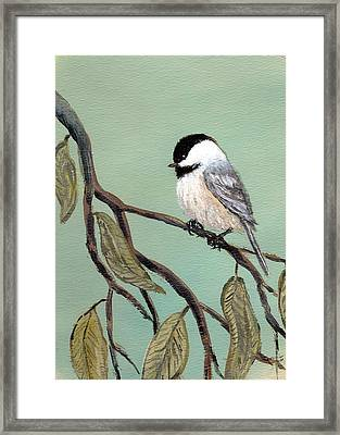 Framed Print featuring the painting Chickadee Set 10 - Bird 2 by Kathleen McDermott