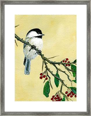 Framed Print featuring the painting Chickadee Set 4 - Bird 1 - Red Berries by Kathleen McDermott