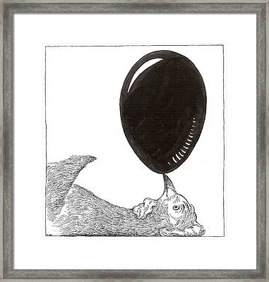 Chicken Balancing Egg Framed Print