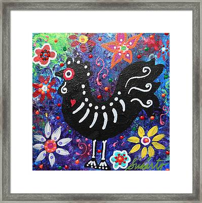 Chicken Day Of The Dead Framed Print by Pristine Cartera Turkus
