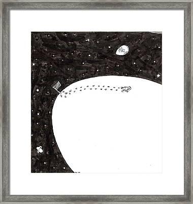 Chicken Lands On Egg Moon Framed Print
