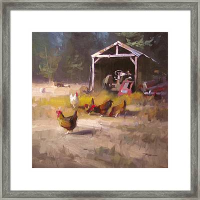 Chickens In Paradise Framed Print by Richard Robinson