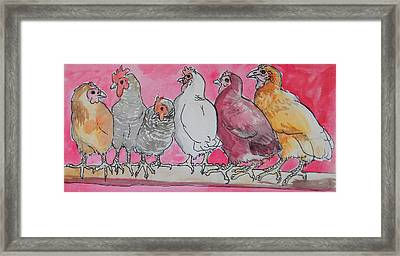 Framed Print featuring the painting Chickens by Jenn Cunningham