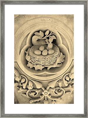 Chicks In Stone In Sepia Framed Print by Rob Hans