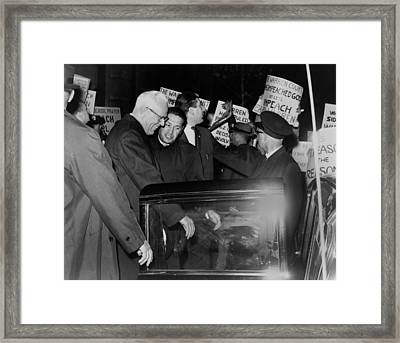 Chief Justice Earl Warren Is Escorted Framed Print