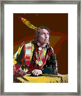 Framed Print featuring the mixed media Chief Red Shirt by Charles Shoup