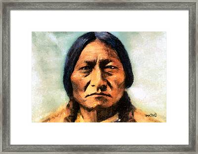 Framed Print featuring the painting Chief Sitting Bull by Wayne Pascall
