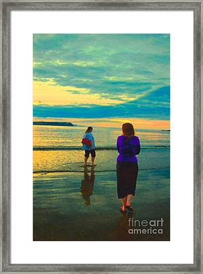 Chilaxing On The Beach Framed Print by Michelle Bergersen