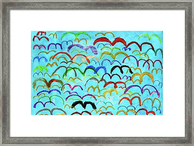 Child Drawing Of Colorful Birds In Blue Sky Framed Print