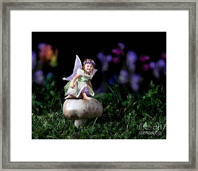 Child Fairy On Mushroom Framed Print