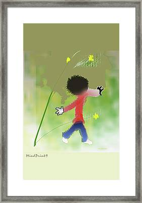 Framed Print featuring the digital art Child In Nature by Asok Mukhopadhyay