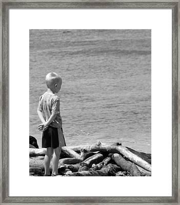 Child In Thought Framed Print by Elizabeth  Doran