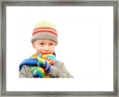 Child In Winter Clothes  Framed Print