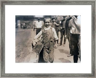 Child Labor, Bootblack Near Trinity Framed Print by Everett