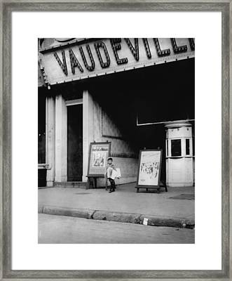 Child Labor In Front Of A Movie Framed Print by Everett