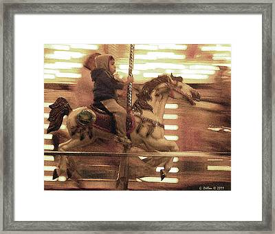 Child On Carousel Framed Print