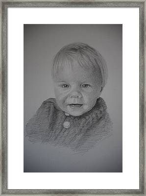 Framed Print featuring the drawing Child Portrait by Lynn Hughes