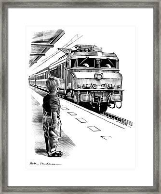 Child Train Safety, Artwork Framed Print