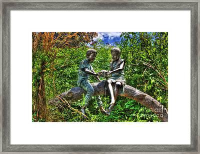 Childhood Memories - Bronze Statue - Girl Boy Turtle  Framed Print by Lee Dos Santos