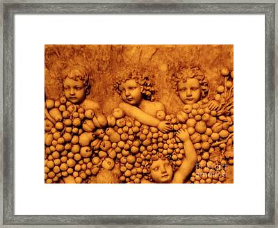 Framed Print featuring the photograph Children Among The Grapes by Annie Zeno