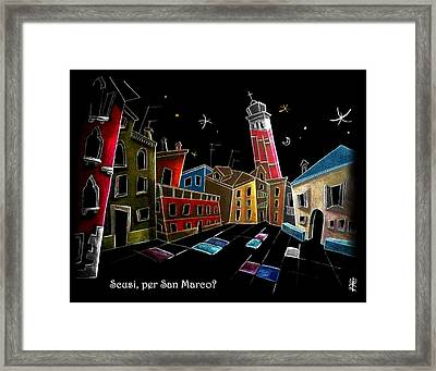 Children Book Illustration Venice Italy - Libri Illustrati Per Bambini Venezia Italia Framed Print by Arte Venezia