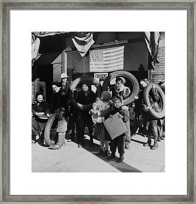 Children Bringing Scrap To The Block Framed Print by Everett