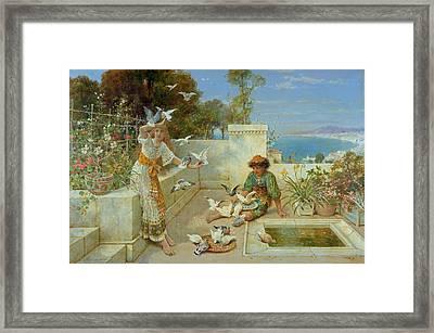Children By The Mediterranean  Framed Print by William Stephen Coleman