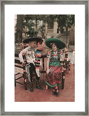 Children In Costume Reenact Colonial Framed Print